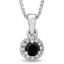 1/2 CTW ROUND-CUT BLACK DIAMOND NECKLACE